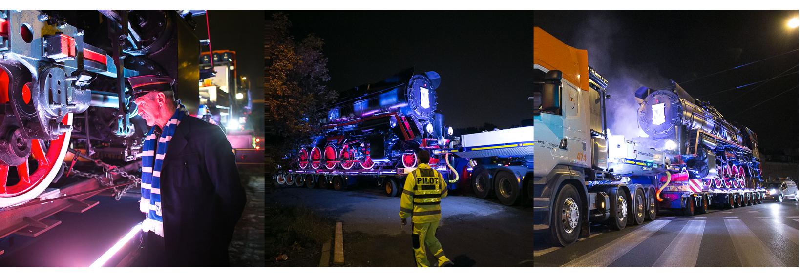Zdjęcia obrazujące transport lokomotywy